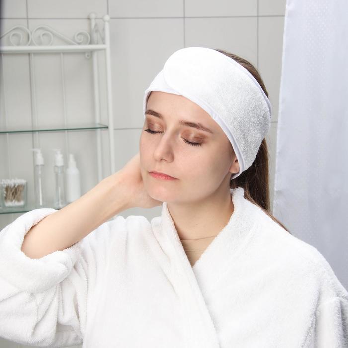 Повязка для волос на липучке Чистовье, махровая, 1 шт/уп, цвет белый - фото 7651394