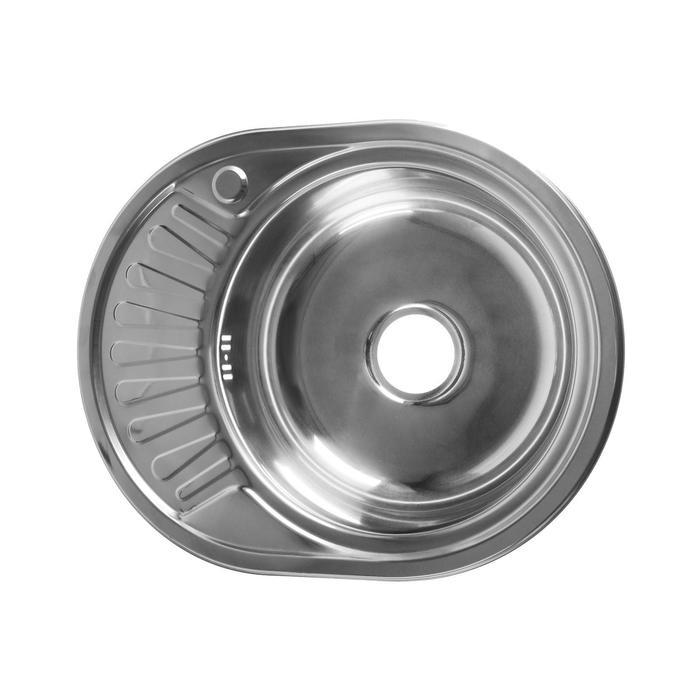 """Мойка кухонная JIF 31053, врезная, толщина 0.6 мм, 57х45х16 см, правая, сифон, выпуск 3 1/2"""" - фото 7652646"""