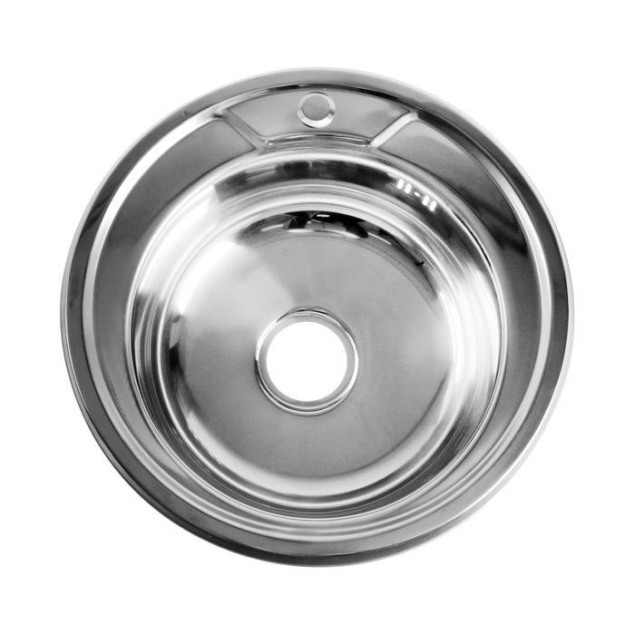 """Мойка кухонная JIF 31059, врезная, толщина 0.6 мм, 49х49х17 см, с сифоном, выпуск 3 1/2"""" - фото 7652651"""