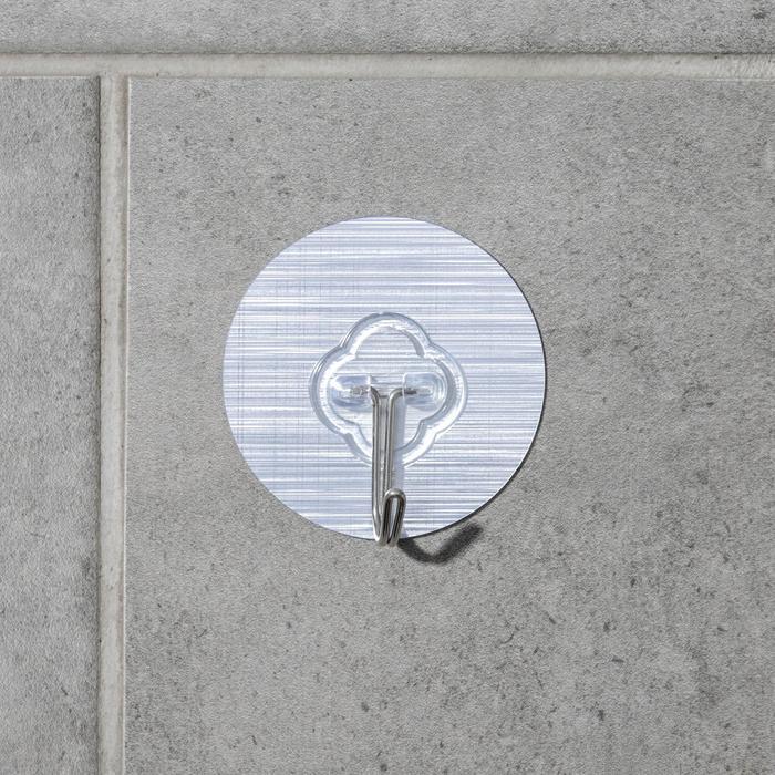 Крючок-наклейка «Классик», металл, цвет серебряный - фото 7653021