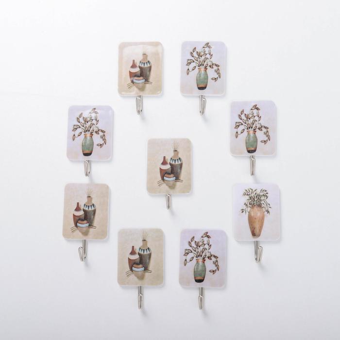 Набор крючков на липучке «Ваза», 9 шт, рисунок МИКС - фото 7653034