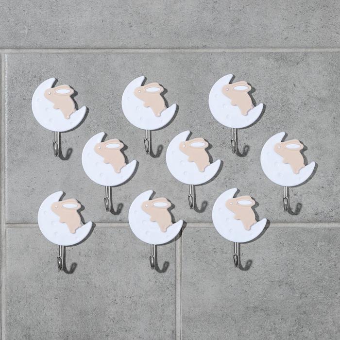 Набор крючков на липучке «Зайчик», 9 шт, цвет МИКС - фото 7653039