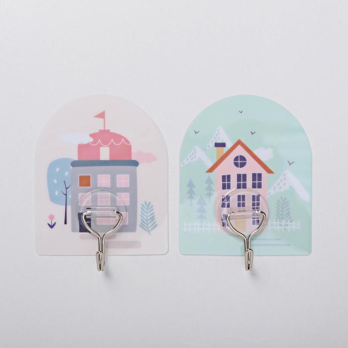 Набор крючков на липучке «Дом», 2 шт, дизайн МИКС - фото 7653069