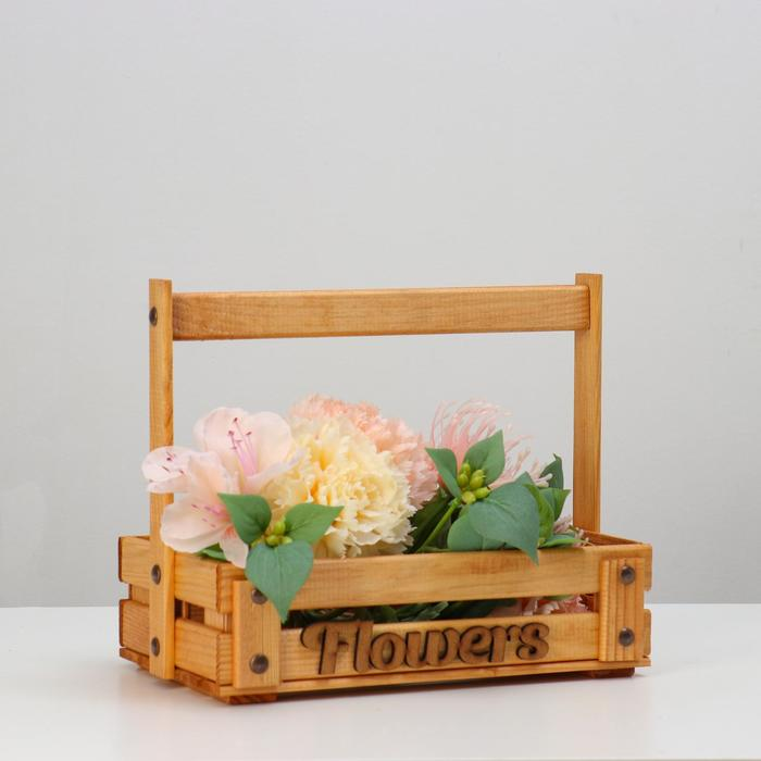 """Кашпо деревянное """"Flowers"""", 28 х 16 см, h = 23 см - фото 860701"""