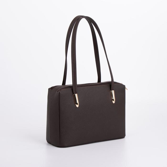 Сумка женская, 2 отдела на молнии, наружный карман, цвет коричневый - фото 53270