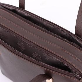Сумка женская, 2 отдела на молнии, наружный карман, цвет коричневый - фото 53272