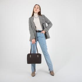 Сумка женская, 2 отдела на молнии, наружный карман, цвет коричневый - фото 354940