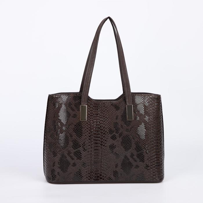 Сумка женская, отдел на молнии, наружный карман, длинный ремень, цвет коричневый - фото 781457
