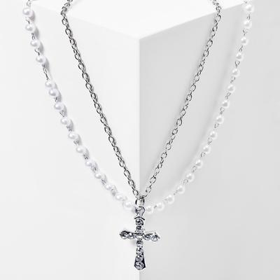 "Pendant ""Chain"" string of pearls, cross with sharp edges, color white in silver, L=40"