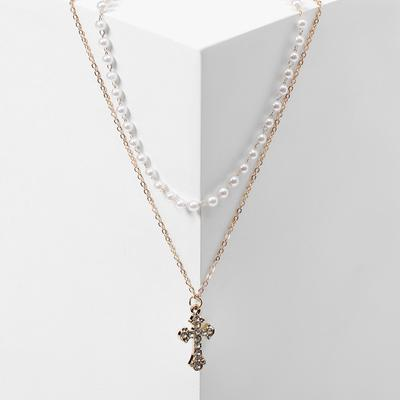 "Pendant ""Chain"" string of pearls, cross shaped, color white in gold, L=42"