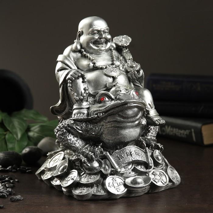 "Копилка ""Будда на жабе"" серебро"