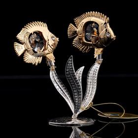 Сувенир «Две рыбки на серебряных водорослях», 9×5×9 см, с кристаллами Сваровски