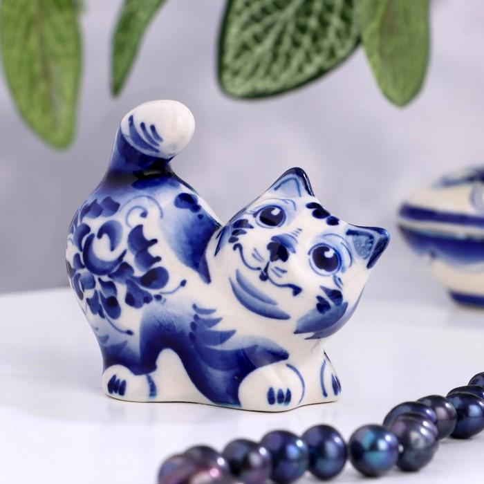 Сувенир «Кот Васька», 7 см, гжель - фото 247513