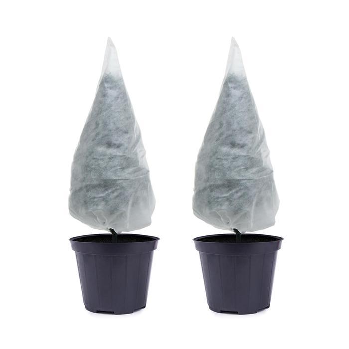 Чехол для растений, конус на завязках, 100 × 89 см, спанбонд с УФ-стабилизатором, плотность 60 г/м², набор 2 шт., белый