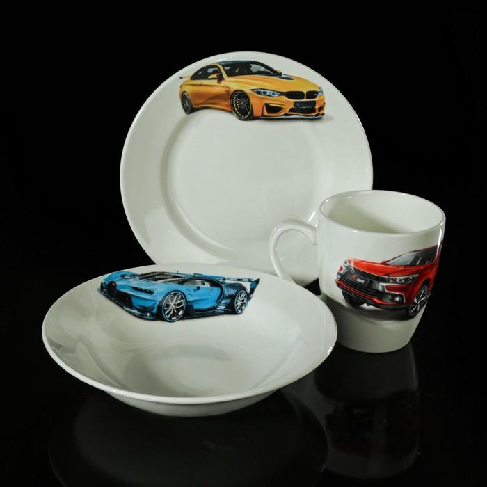 """Набор детской посуды """"Гонки"""", 3 предмета: тарелка 17,5 см, миска 250 мл (17,5 см), кружка 260 мл, рисунок МИКС"""