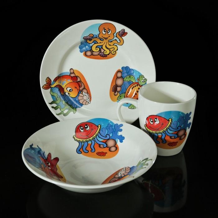 """Набор детской посуды """"Морской мир"""", 3 предмета: тарелка 17,5 см, миска 250 мл (17,5 см), кружка 260 мл, рисунок МИКС - фото 187019523"""