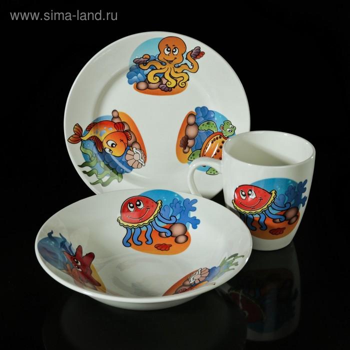 """Набор детской посуды """"Морской мир"""", 3 предмета: тарелка d=17,5 см, миска 250 мл (d=17,5 см), кружка 260 мл, рисунок МИКС"""