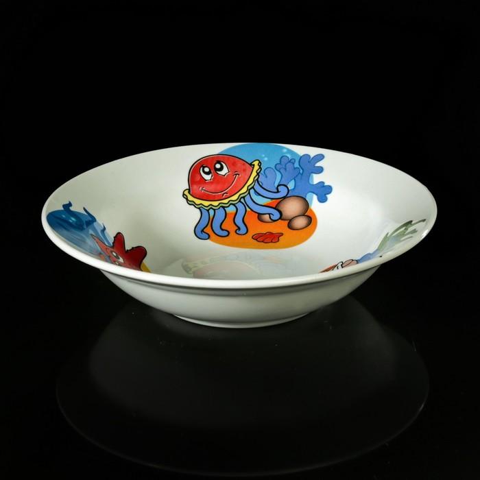 """Набор детской посуды """"Морской мир"""", 3 предмета: тарелка 17,5 см, миска 250 мл (17,5 см), кружка 260 мл, рисунок МИКС - фото 140721815"""