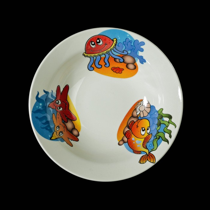 """Набор детской посуды """"Морской мир"""", 3 предмета: тарелка 17,5 см, миска 250 мл (17,5 см), кружка 260 мл, рисунок МИКС - фото 140721816"""