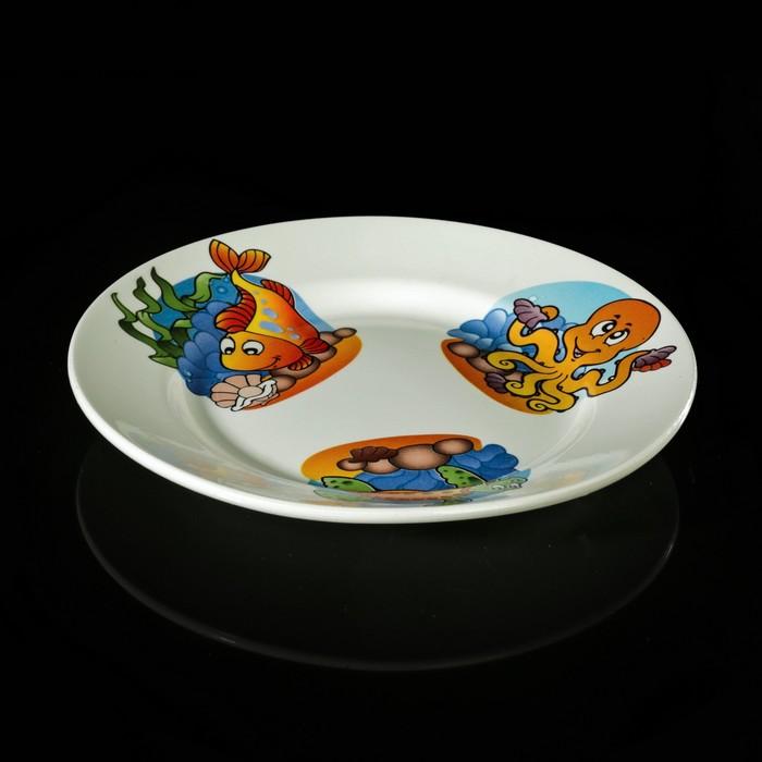 """Набор детской посуды """"Морской мир"""", 3 предмета: тарелка 17,5 см, миска 250 мл (17,5 см), кружка 260 мл, рисунок МИКС - фото 187019526"""