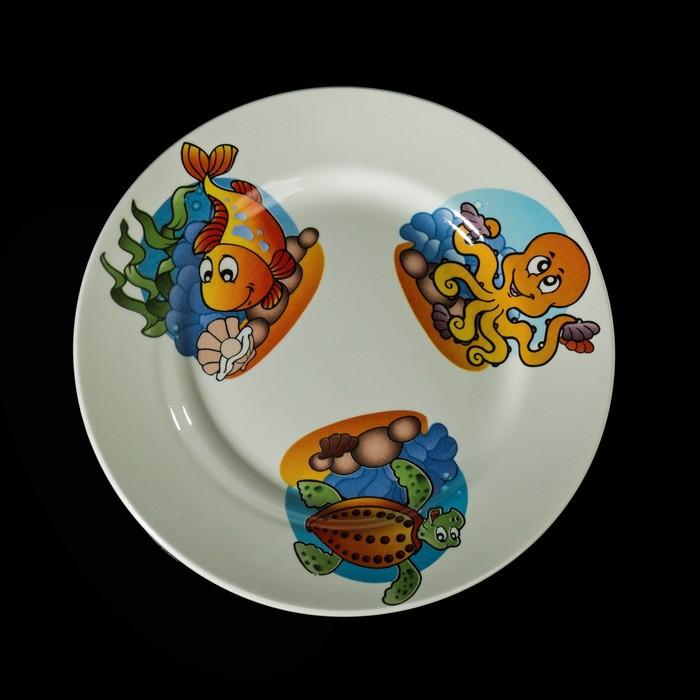 """Набор детской посуды """"Морской мир"""", 3 предмета: тарелка 17,5 см, миска 250 мл (17,5 см), кружка 260 мл, рисунок МИКС - фото 417699209"""