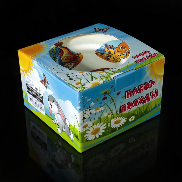 """Набор детской посуды """"Морской мир"""", 3 предмета: тарелка 17,5 см, миска 250 мл (17,5 см), кружка 260 мл, рисунок МИКС - фото 417699212"""