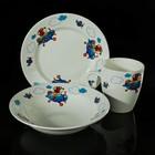 """Набор детской посуды """"Пилот"""", 3 предмета: тарелка d=17,5 см, миска 250 мл (d=17,5 см), кружка 260 мл , рисунок МИКС"""