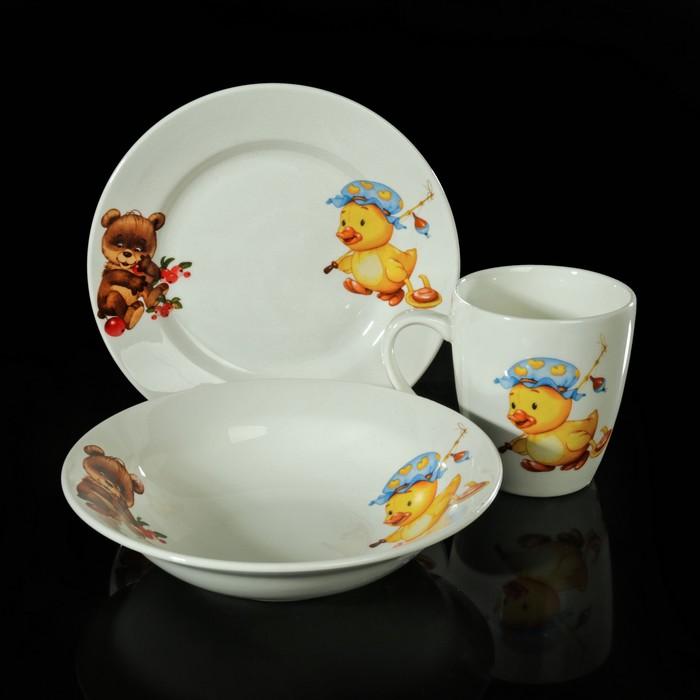 """Набор детской посуды """"Утёнок, медвежонок"""", 3 предмета: тарелка 17,5 см, миска 250 мл (17,5 см), кружка 260 мл"""