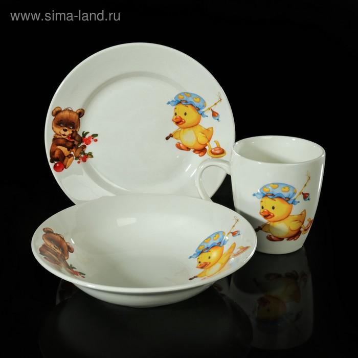 """Набор детской посуды """"Утёнок, медвежонок"""", 3 предмета: тарелка d=17,5 см, миска 250 мл (d=17,5 см), кружка 260 мл"""