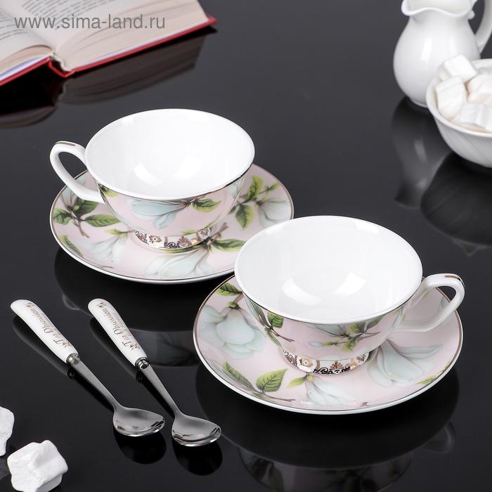 """Сервиз чайный """"Нежность"""", 6 предметов: 2 чашки 250 мл, 2 ложки, 2 блюдца"""