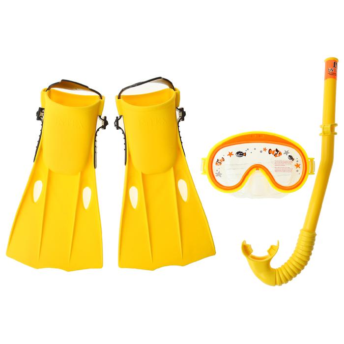 """Набор для подводного плавания """"Приключения"""", 3 предмета: маска, трубка, ласты, от 3 до 8 лет INTEX"""