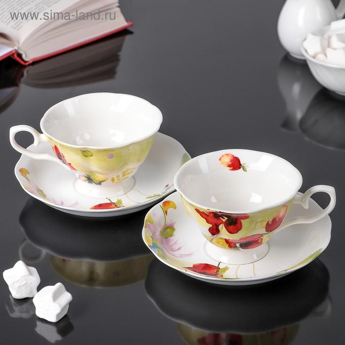 "Сервиз чайный ""Маки"", 4 предмета: 2 чашки 250 мл, 2 блюдца"