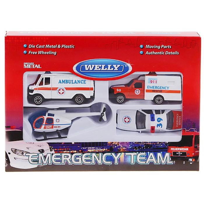 Набор из 4-х машин «Служба спасения - скорая помощь»