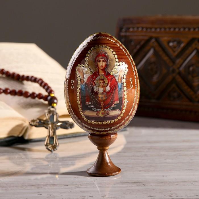 """Сувенир Яйцо на подставке икона """"Божья Матерь Неупиваемая чаша"""" - фото 797601434"""