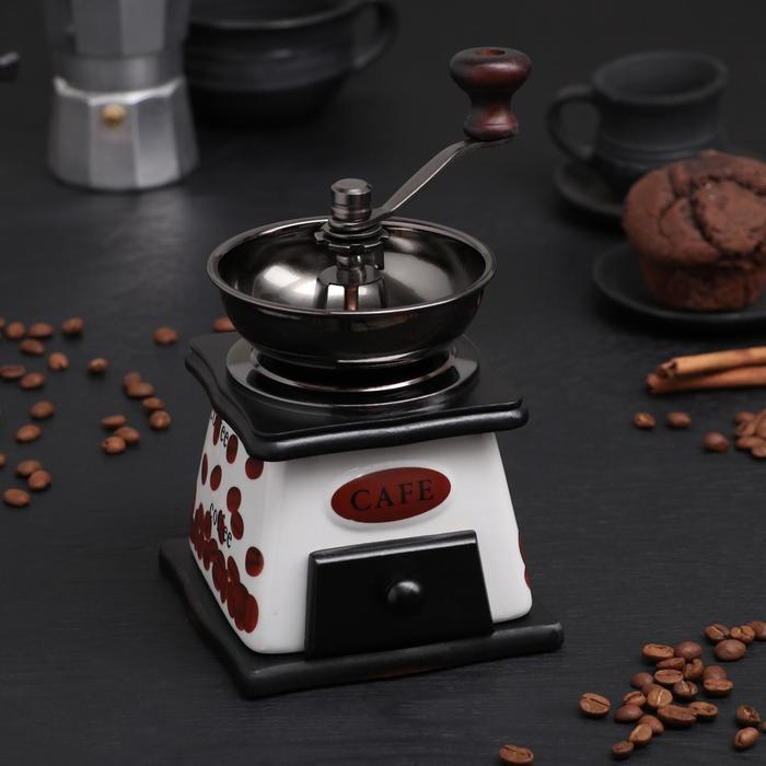 """Кофемолка с ручкой """"Кофейные зерна"""", цвет темное дерево"""