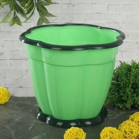 Горшок для цветов 1,5 л 'Восторг', поддон, цвет зеленый Ош