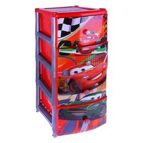 Комод для игрушек на колёсиках 'Дисней', 4 выдвижных ящика, цвет красный Ош