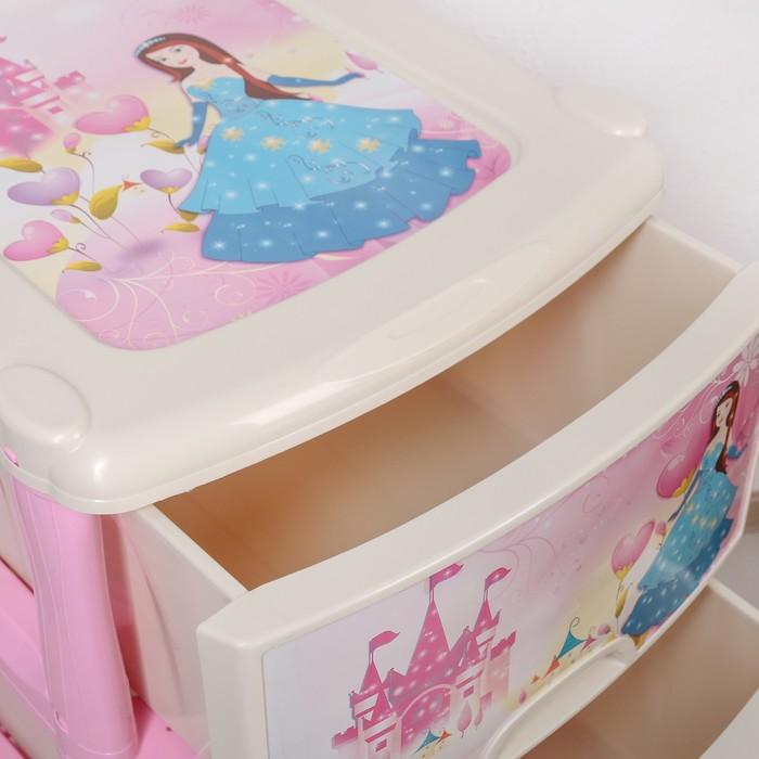 """Комод 3-х секционный """"Принцесса"""", на колёсиках, цвет розовый, рисунок МИКС"""