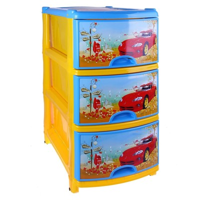 Комод детский 3-х секционный «Тачки», цвет и рисунок МИКС