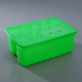 Ящик для карандашей 2 л с крышкой, цвет МИКС Ош