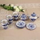 Сервиз «Лето», гжель, 14 предметов: кружка чайная — 6 шт, блюдце — 6 шт, заварник, сахарница