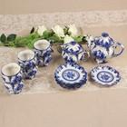 Сервиз «Цветок», гжель, 14 предметов: кружка чайная — 6 шт, блюдце — 6 шт, заварник, сахарница