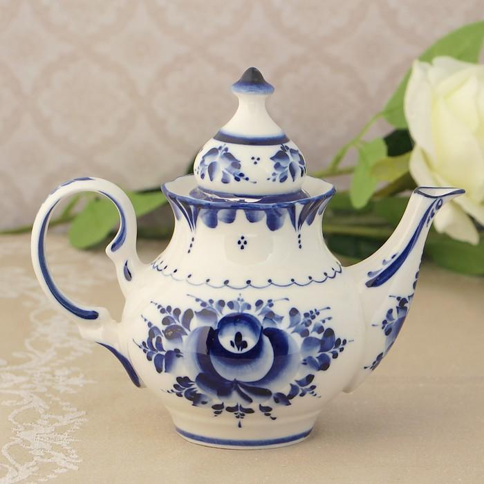 Чайник заварной «Бутон», малый, 18х14,5х9,5 см гжель