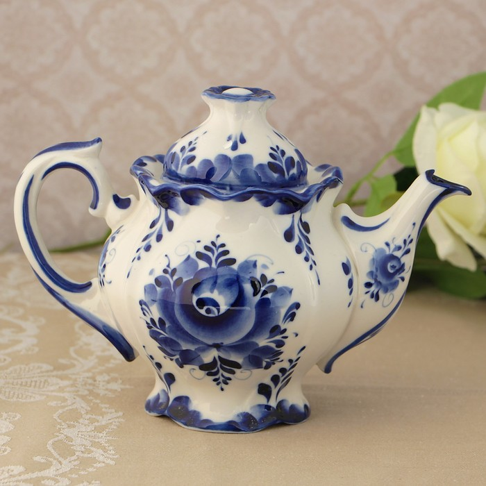 Чайник «Цветок»,  21х12,5х14,5 см, гжель