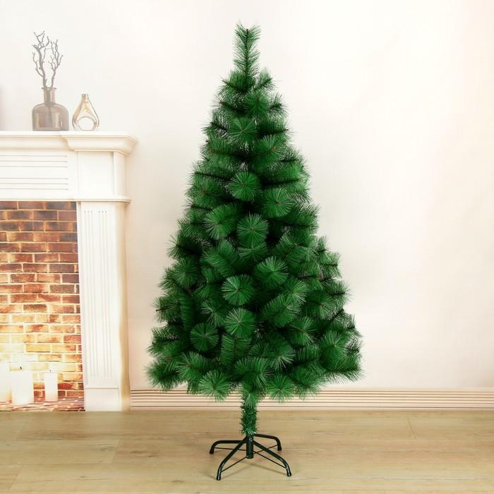 Кедр зеленый 150 см, d иголок 10 см, d нижнего яруса 87 см, 152 ветки, металл подставка