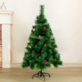 Кедр зелёный шишки 120 см, d нижнего яруса 80 см, d игл 10 см, 110 веток, металл подставка