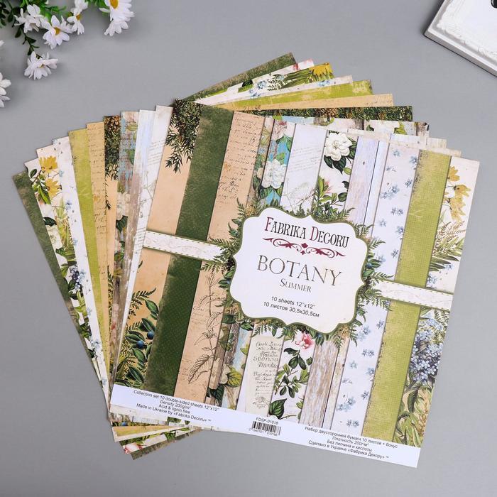 """Набор бумаги для скрапбукинга """"Botany summer """" 10 листов, 30,5х30,5 см - фото 9214753"""