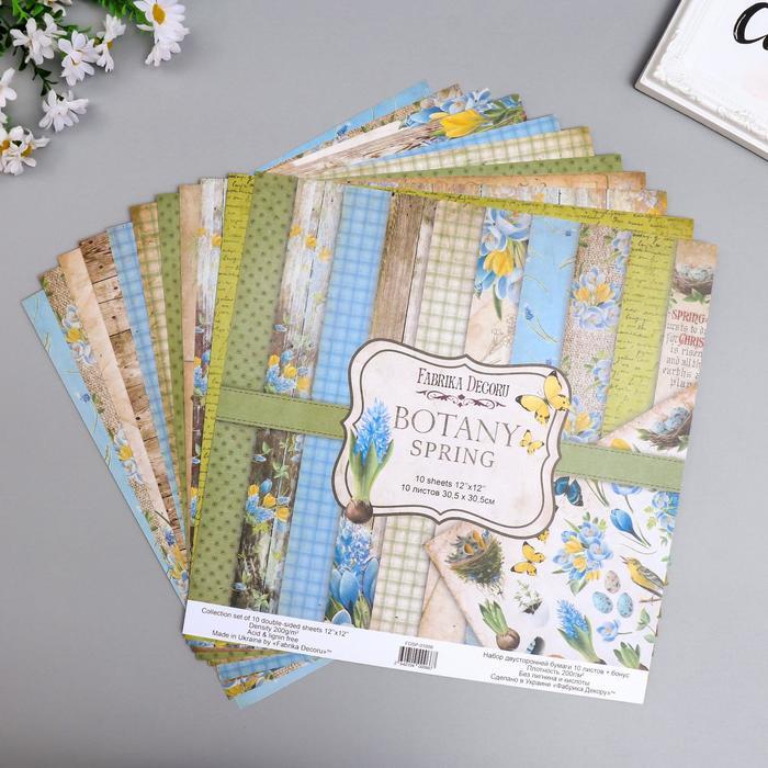 """Набор бумаги для скрапбукинга """"Botany spring """" 10 листов, 30,5х30,5 см - фото 9214759"""
