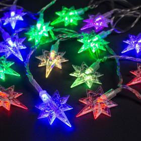 """Гирлянда """"Нить"""" 5 м с насадками """"Звёзды"""", IP20, прозрачная нить, 20 LED, свечение мульти, мигание, 220 В"""