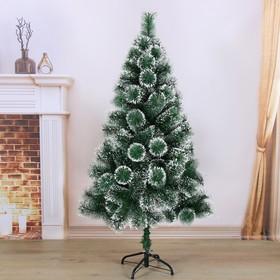 Кедр зеленый снег 150 см, d нижнего яруса 85 см, d иголок 10 см, 152 ветки, металл подставка